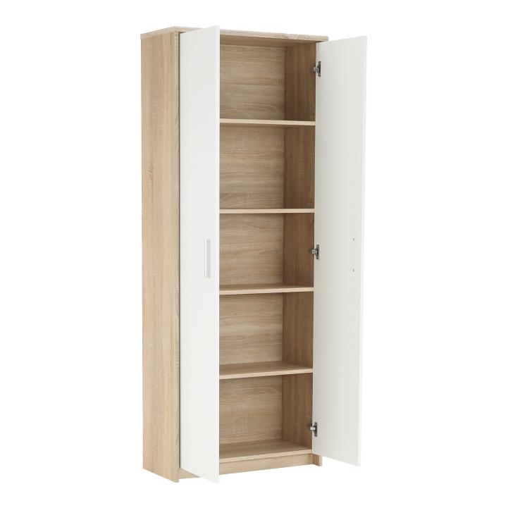 Kancelárska skriňa, dub sonoma/biela, JOHAN NEW 05, otvorená skriňa z boku