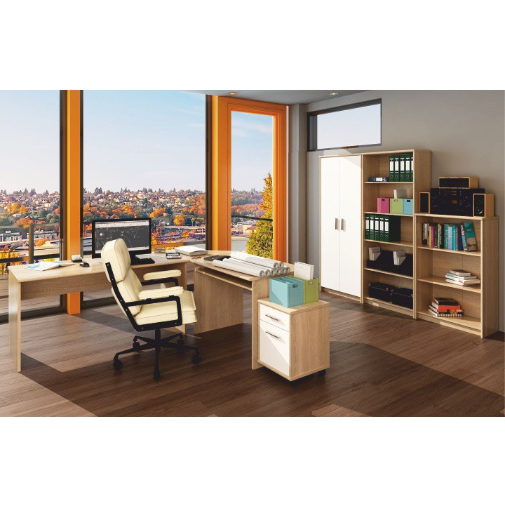 Kancelárska skrinka, dub sonoma/biela,  DTD laminovaná, interiérová fotka, JOHAN NEW 13