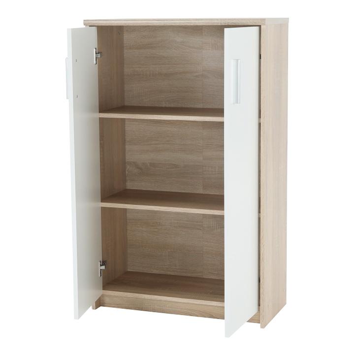 Kancelárska skrinka, dub sonoma/biela,  DTD laminovaná,  JOHAN NEW 13, otvorené dvierka na skrinke