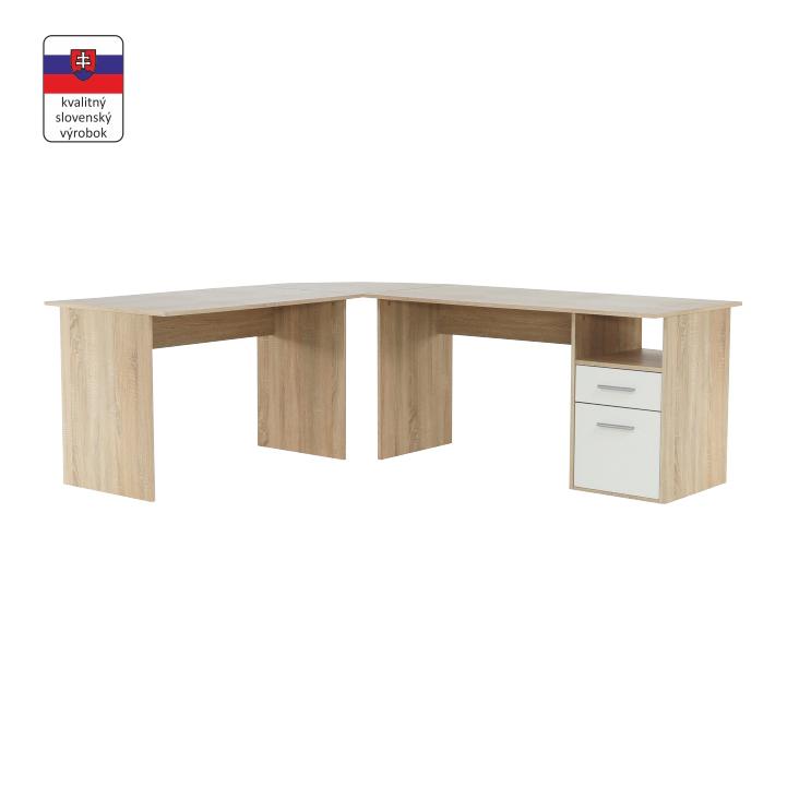 Rohový PC stôl, dub sonoma/biela, na bielom pozadí, MAURUS NEW MA11