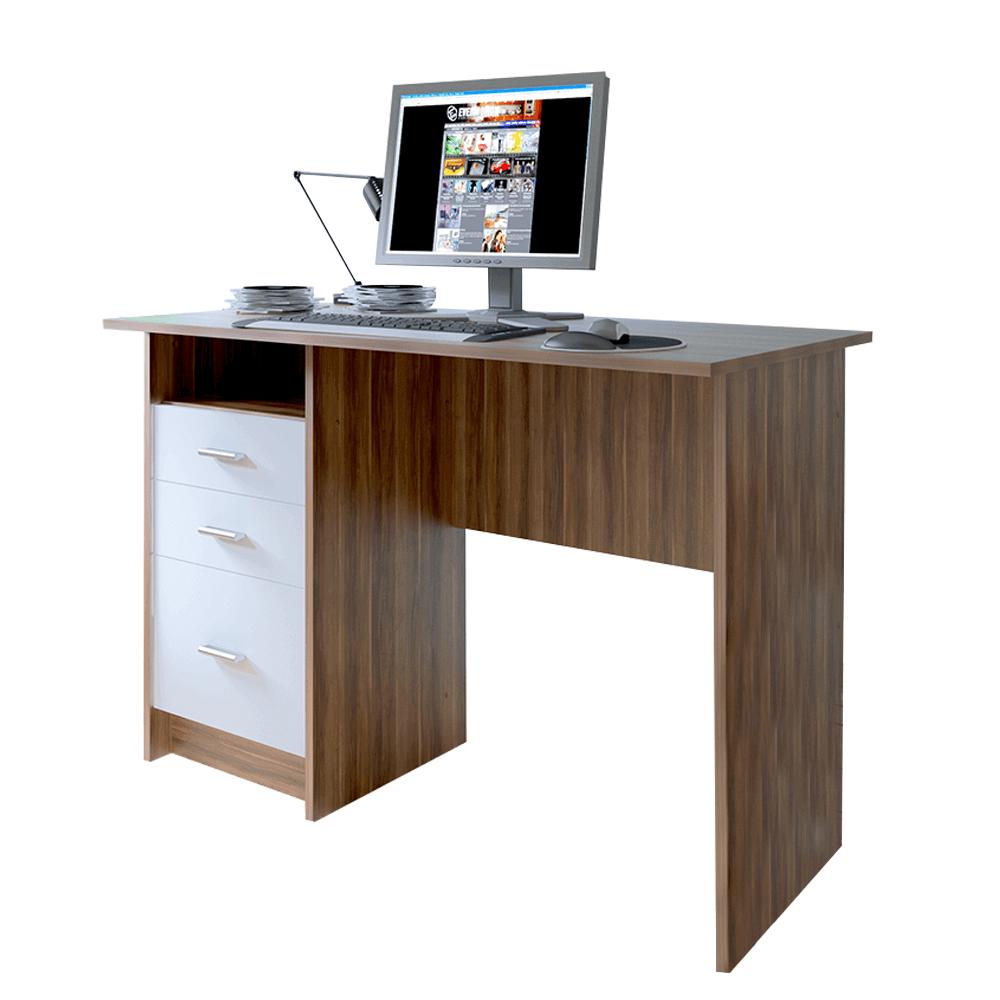 masă PC, stejar prun/alb, SAMSON NEW