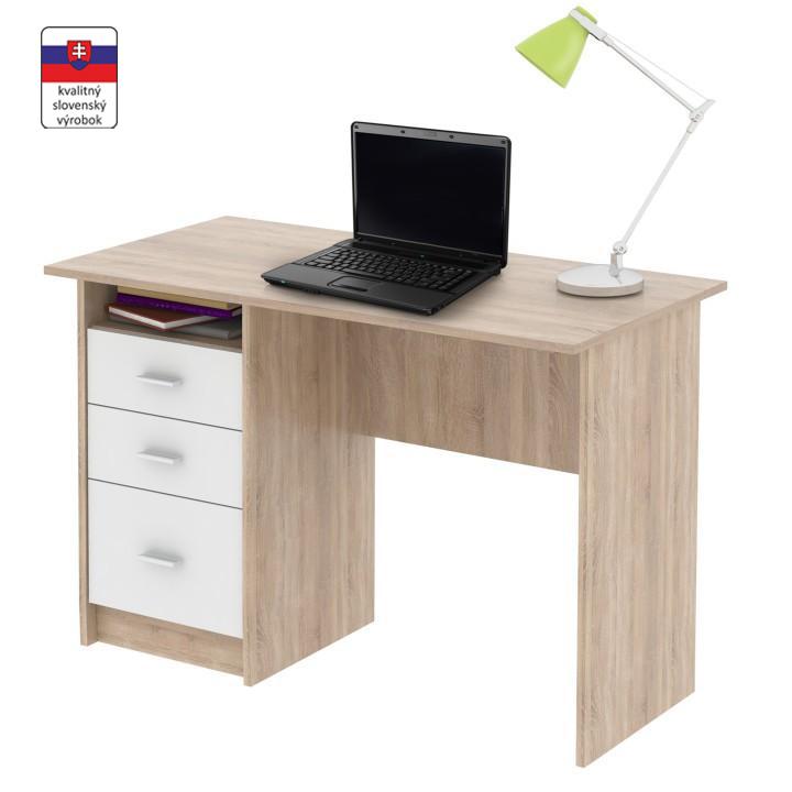 PC stôl, dub sonoma, SAMSON NEW, na bielom pozadí