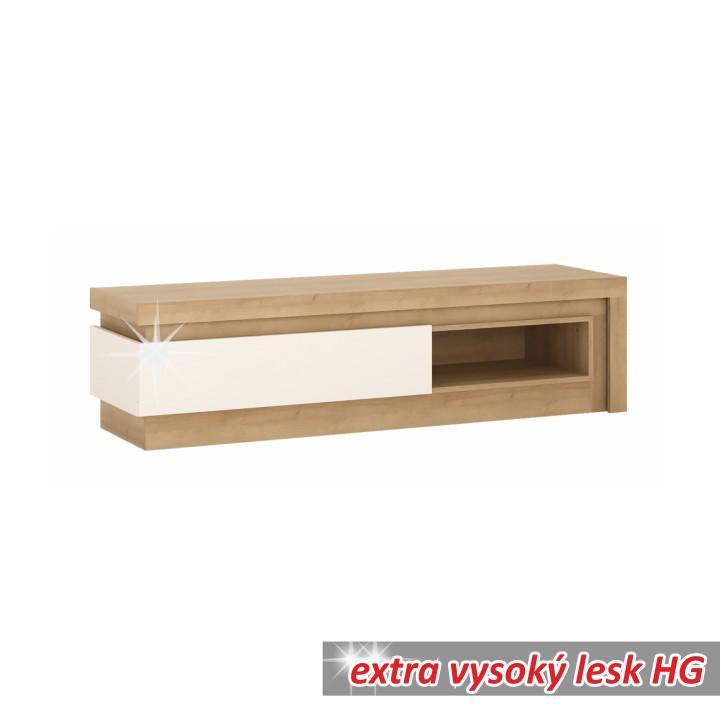 RTV stolík 02, dub riviéra/biela s extra vysokým leskom, LEONARDO