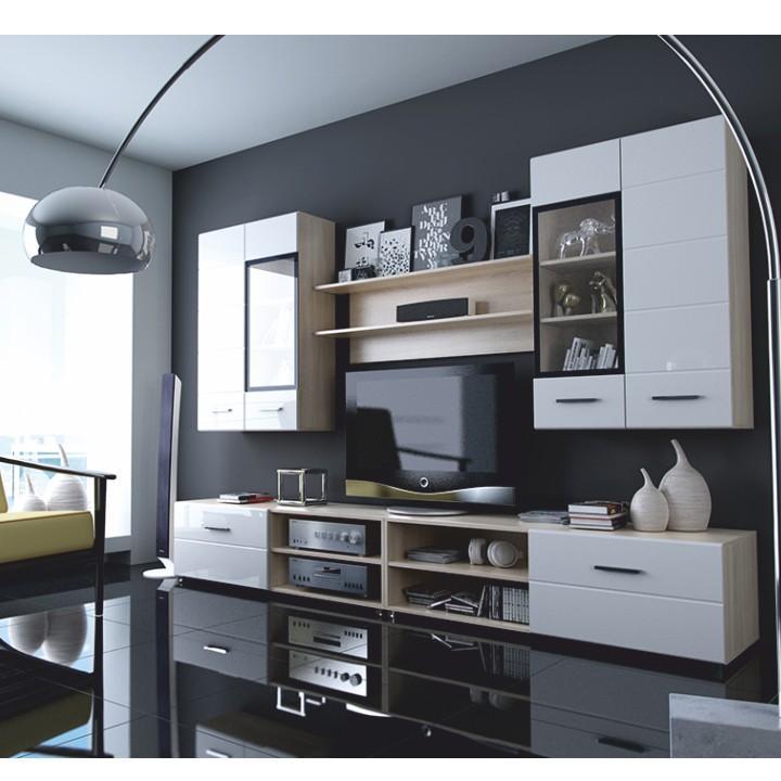 Obývacia stena, dub sonoma + biely extra HG, MIRAGO typ 2