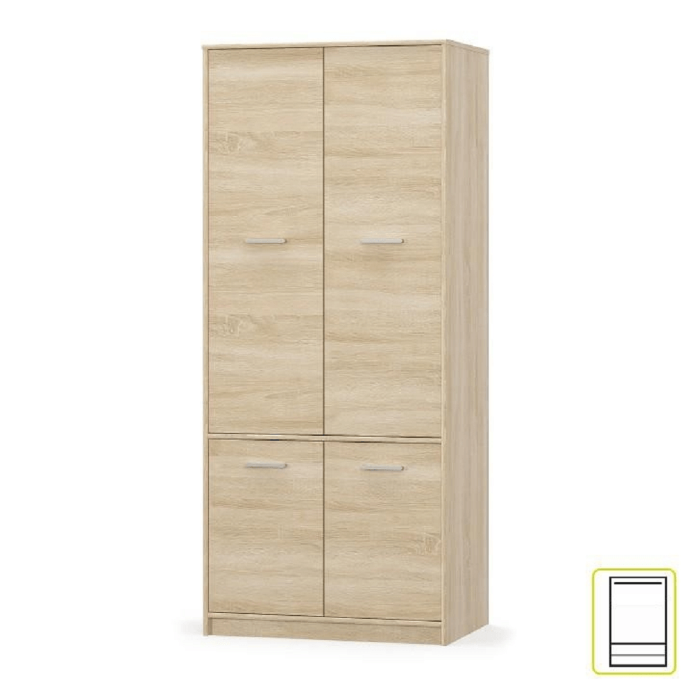 Akasztós szekrény 4D polcokkal, sonoma tölgyfa, TEYO