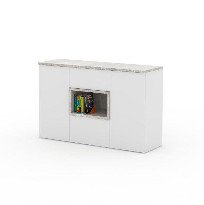 Komoda, biela/beton, FARIS 03