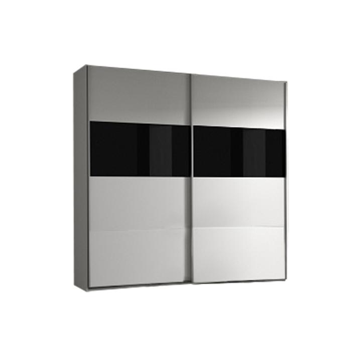 Skriňa s posúvnymi dverami, vešiaková, biela/čierne sklo DEVON NEW