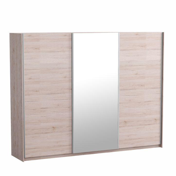 Skriňa trojdverová so zrkadlom, dub san remo/biela, MIRAN NEW, na bielom pozadí