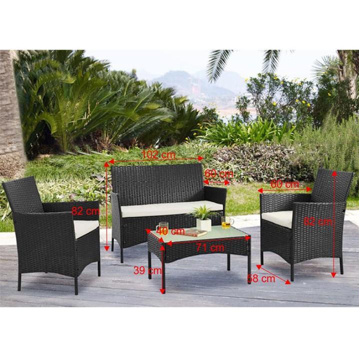 Záhradný set, dvojsed+2x kreslo+konferenčný stôl, ratan, tmavohnedá/krémová, RATTY