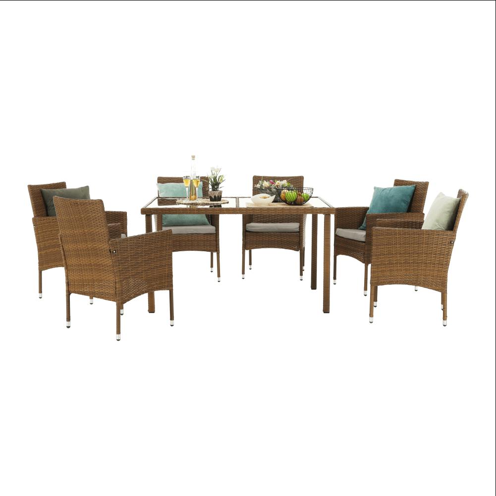 Set de grădină, masă+6x scaune, ratan, miere/crem, GARDEN