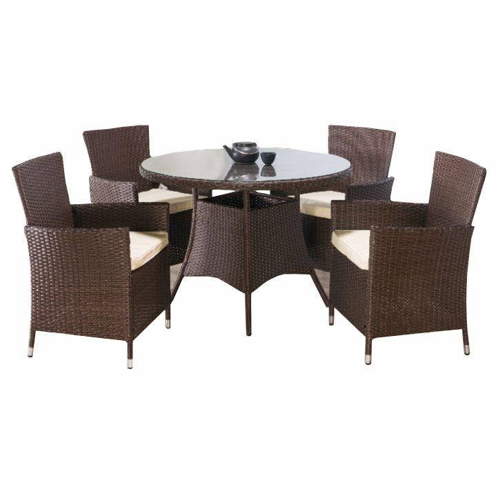 Záhradný set, stôl + 4x stolička, ratan, tmavohnedá/kremová, RANDEL, na bielom pozadí
