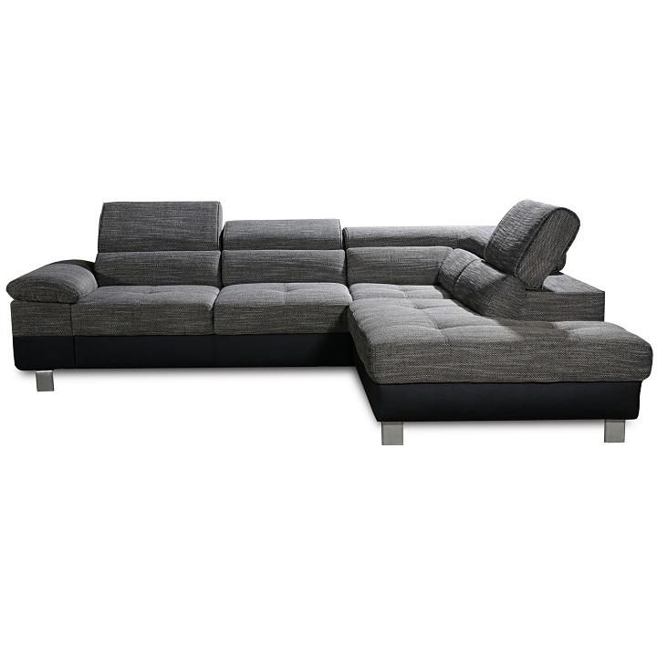 Celočalúnená sedacia súprava s úložným priestorom, pravá, ekokoža čierna/látka sivý melír, PAVLO