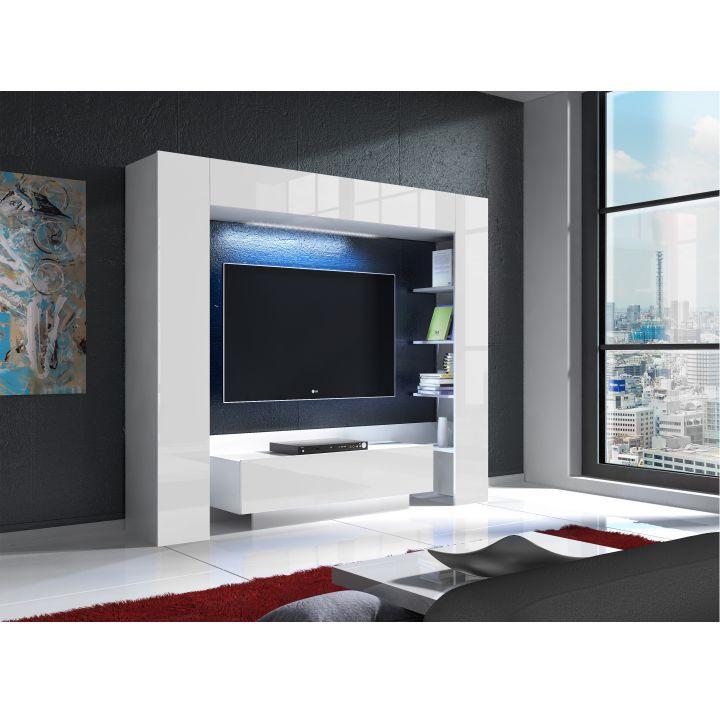 Luxusná obývacia stena s LED osvetlením, biela/biely extra vysoký lesk, MONTEREJ, interiér