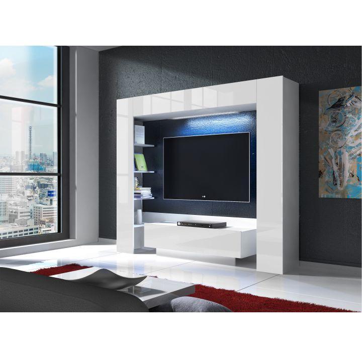 Luxusná obývacia stena s LED osvetlením, biela/biely extra vysoký lesk, MONTEREJ, interiérová fotka