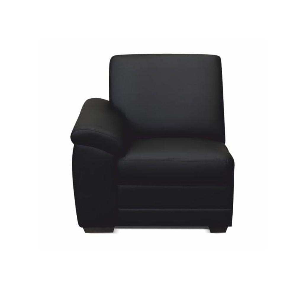 1-személyes kanapé támasztékkal, textilbőr fekete, balos,  BITER 1 1B