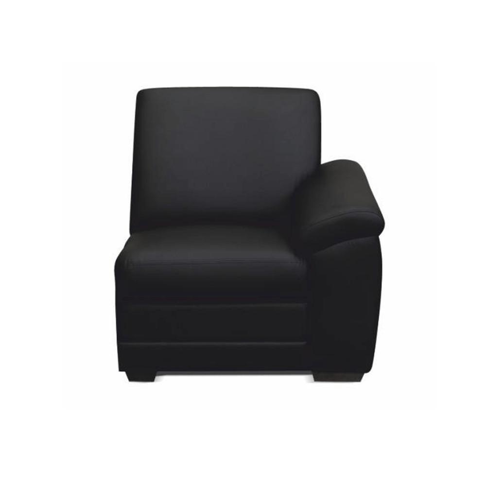 1-személyes kanapé támasztékkal, textilbőr fekete, jobbos,  BITER 1 1B