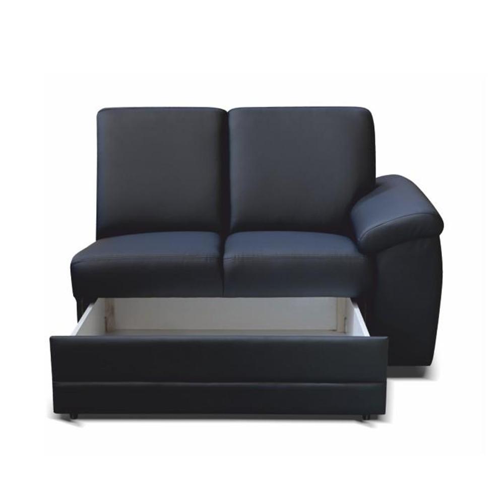 2- személyes kanapé támasztékokkal és rakodótérrel, textilbőr fekete, jobbos, BITER 2 1B ZS