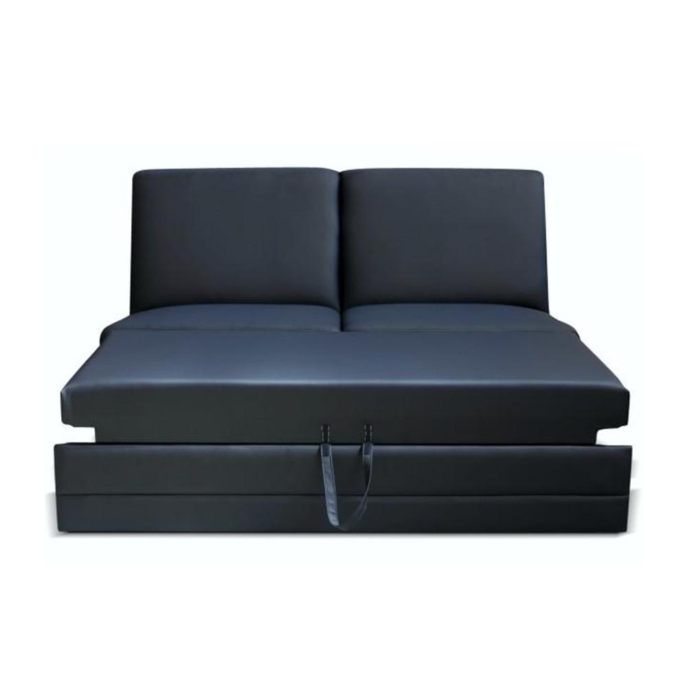 3-személyes kinyitható kanapé, textilbőr fekete, BITER 3 BB ZF