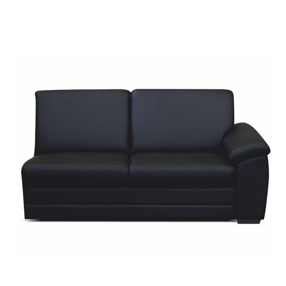 3-személyes kanapé támasztékkal, textilbőr fekete, jobbos, BITER 3 1B