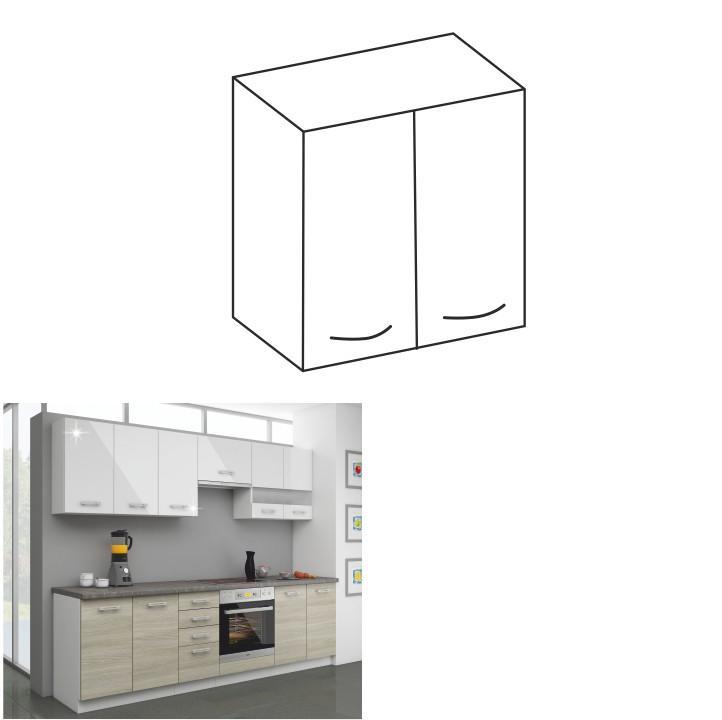 Kuchynská skrinka horná 60 G-72, biely lesk, LEWIS