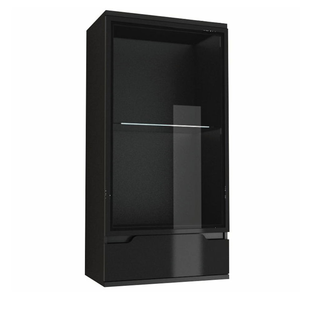 Függő vitrín, fekete/fekete extra magas  fénnyel, ADONIS AS 08