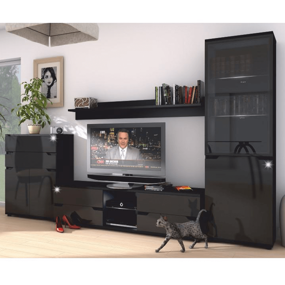 RTV stolík, čierna/čierna s extra vysokým leskom, ADONIS AS 30