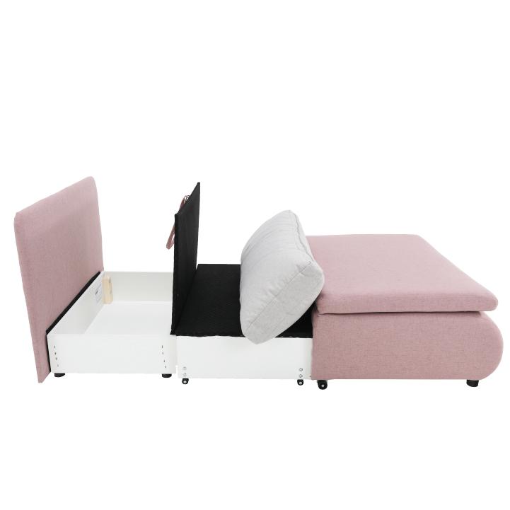 Rozkladacie kreslo, ružová/svetlo sivá, KENY NEW, rozložená s úložným priestorom