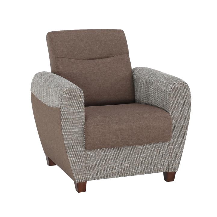 Fotel, barna/ sötétbézs, MILO