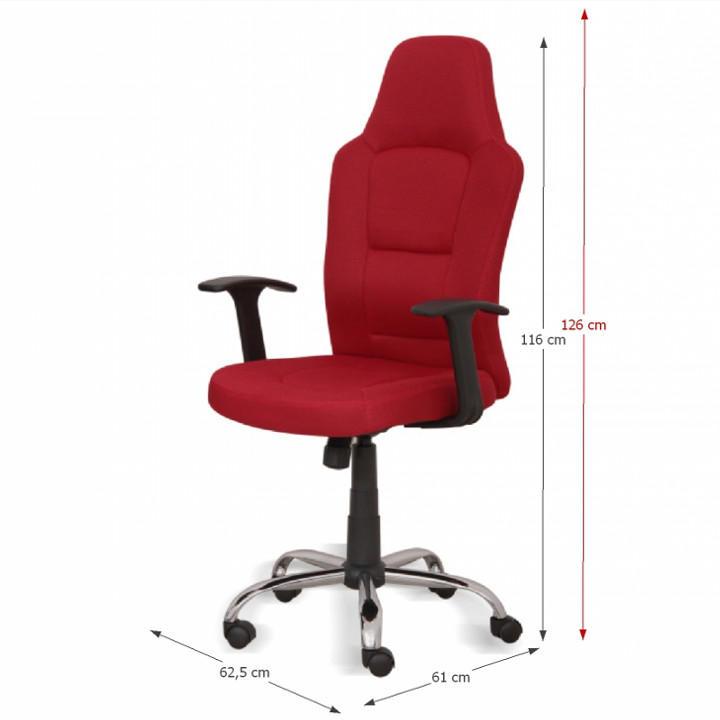 Kancelárske kreslo, červené, VAN - fotka s rozmermi