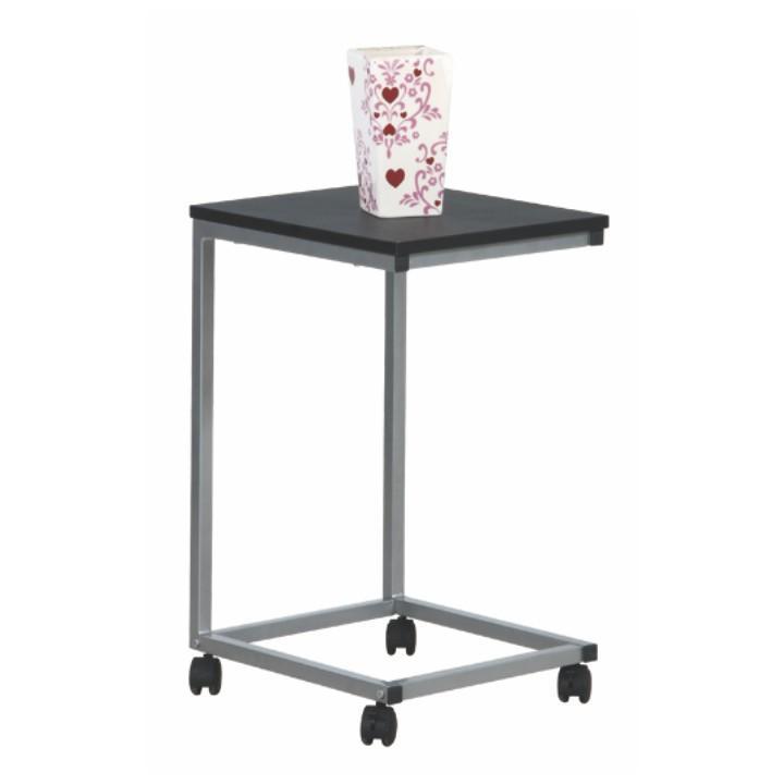Príručný stolík, čierna/kov strieborná, na bielom pozadí, MANNY
