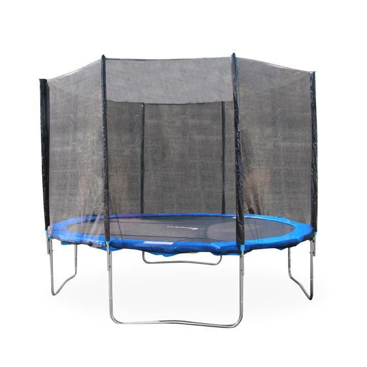 Trampolína s ochrannou sieťou, priemer  183 cm, modrá/čierna, na bielom pozadí, JUMPY