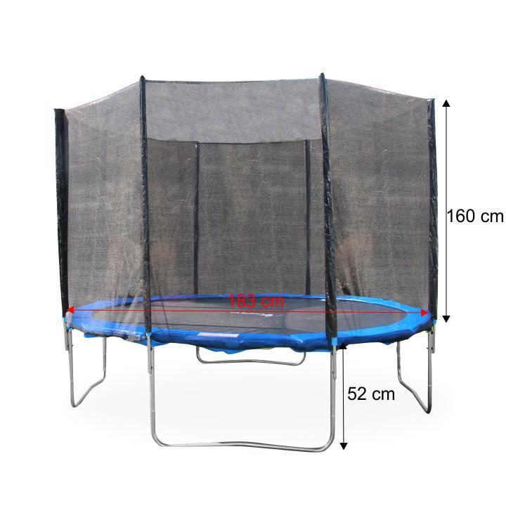 Trampolína s ochrannou sieťou, priemer  183 cm, modrá/čierna, s rozmermi, JUMPY