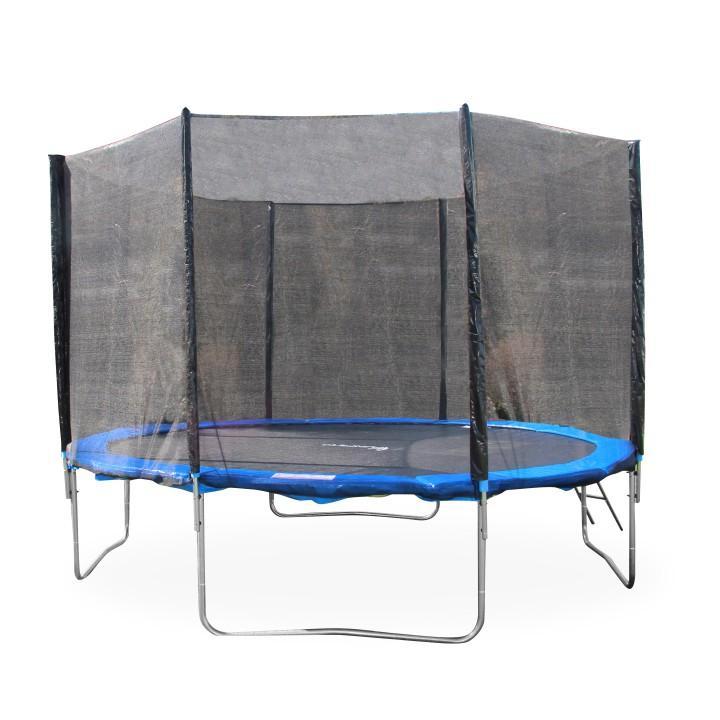 Trampolína s ochrannou sieťou a rebríkom, 252 cm, modrá/čierna, na bielom pozadí, JUMPY 2