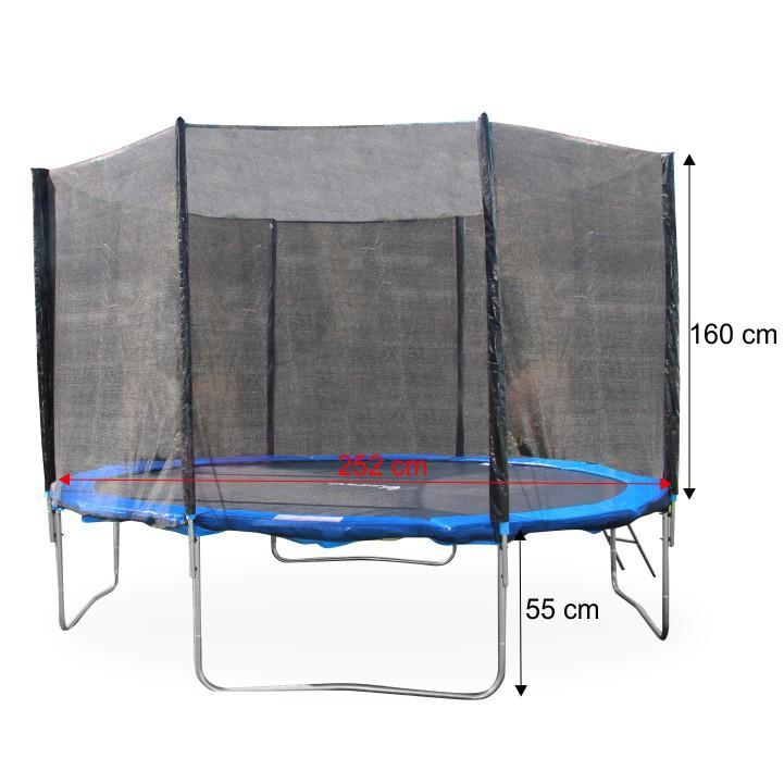 Trampolína s ochrannou sieťou a rebríkom, 252 cm, modrá/čierna, s rozmermi, JUMPY 2