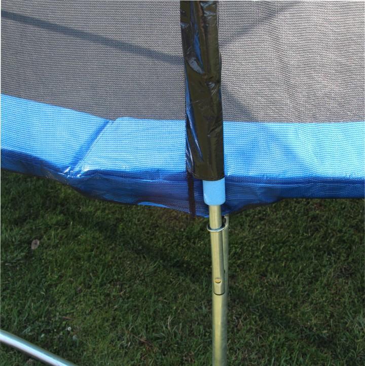 Trampolína s ochrannou sieťou a rebríkom, 252 cm, modrá/čierna, detail na spoj, JUMPY 2