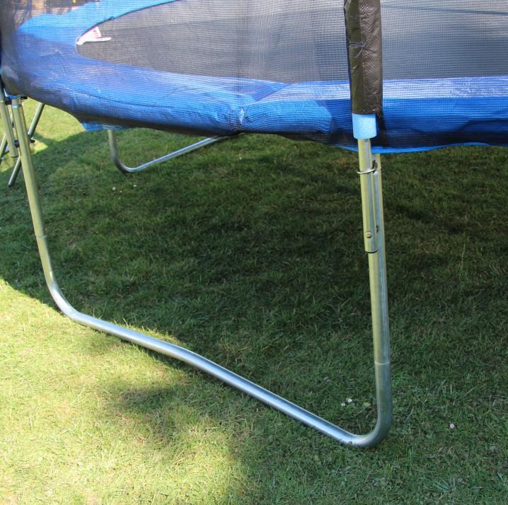 Trampolína s ochrannou sieťou a rebríkom, 252 cm, modrá/čierna, detail na materiál, JUMPY 2