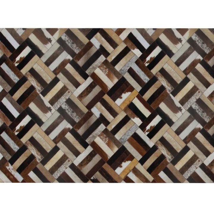 Covor de lux din piele, maro/negru/bej, patchwork, 140x200 , PIELE DE VITĂ TIP 2