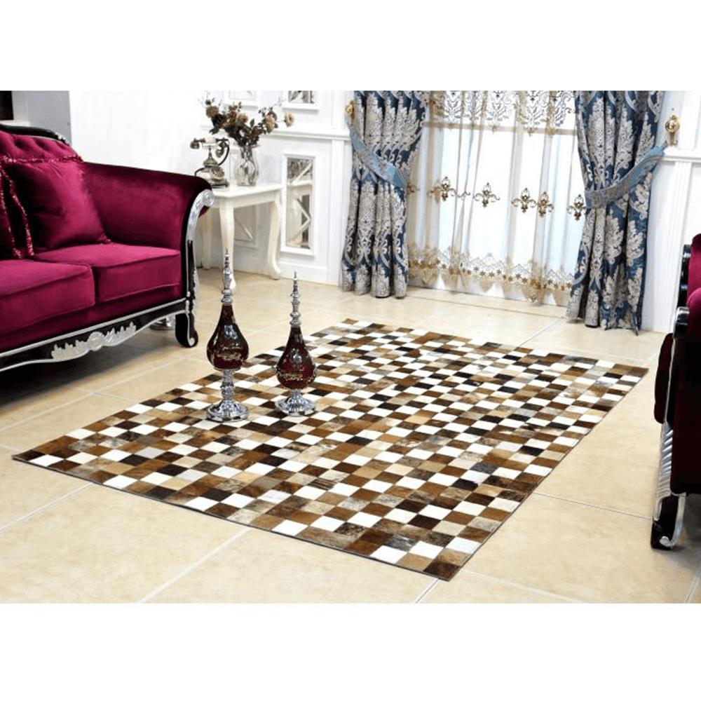 Luxus bőrszőnyeg, barna /fekete/fehér, patchwork, 168x240, bőr TIP 3