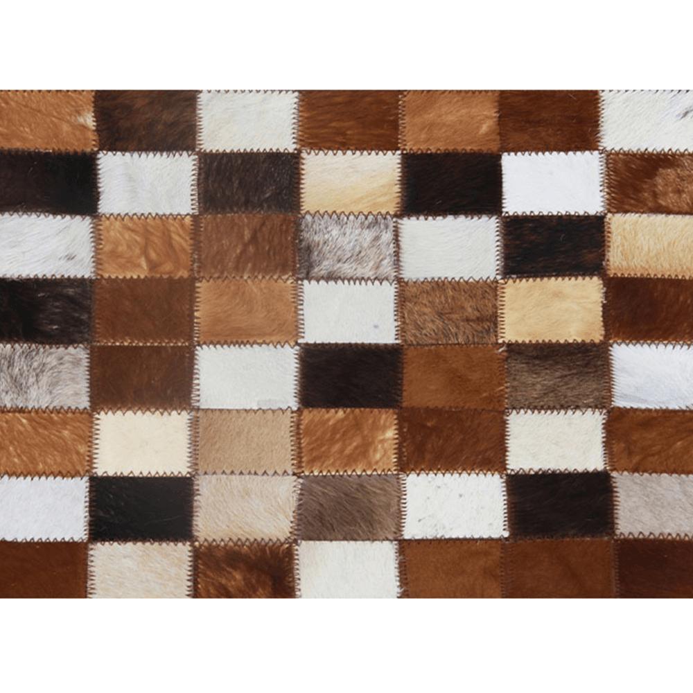 Covor de lux din piele, maro/negru/alb, patchwork, 80x144, PIELE DE VITĂ TIP 3