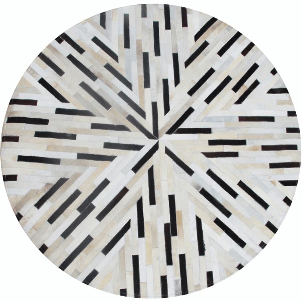 Luxus bőrszőnyeg, fekete/bézs/fehér, patchwork, 200x200, bőr TIP 8
