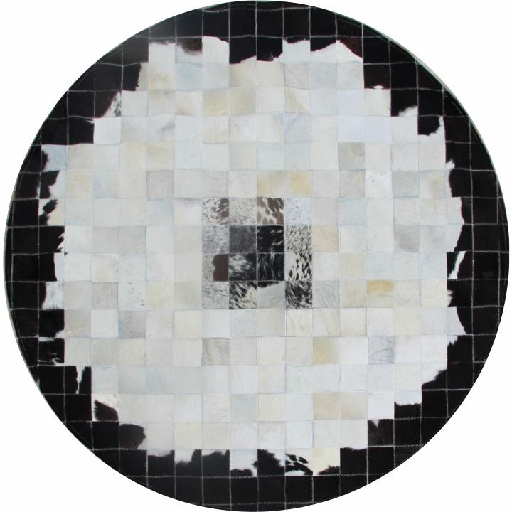 Luxusný kožený koberec, viacfarebný, patchwork, 200x200, KOŽA TYP 9