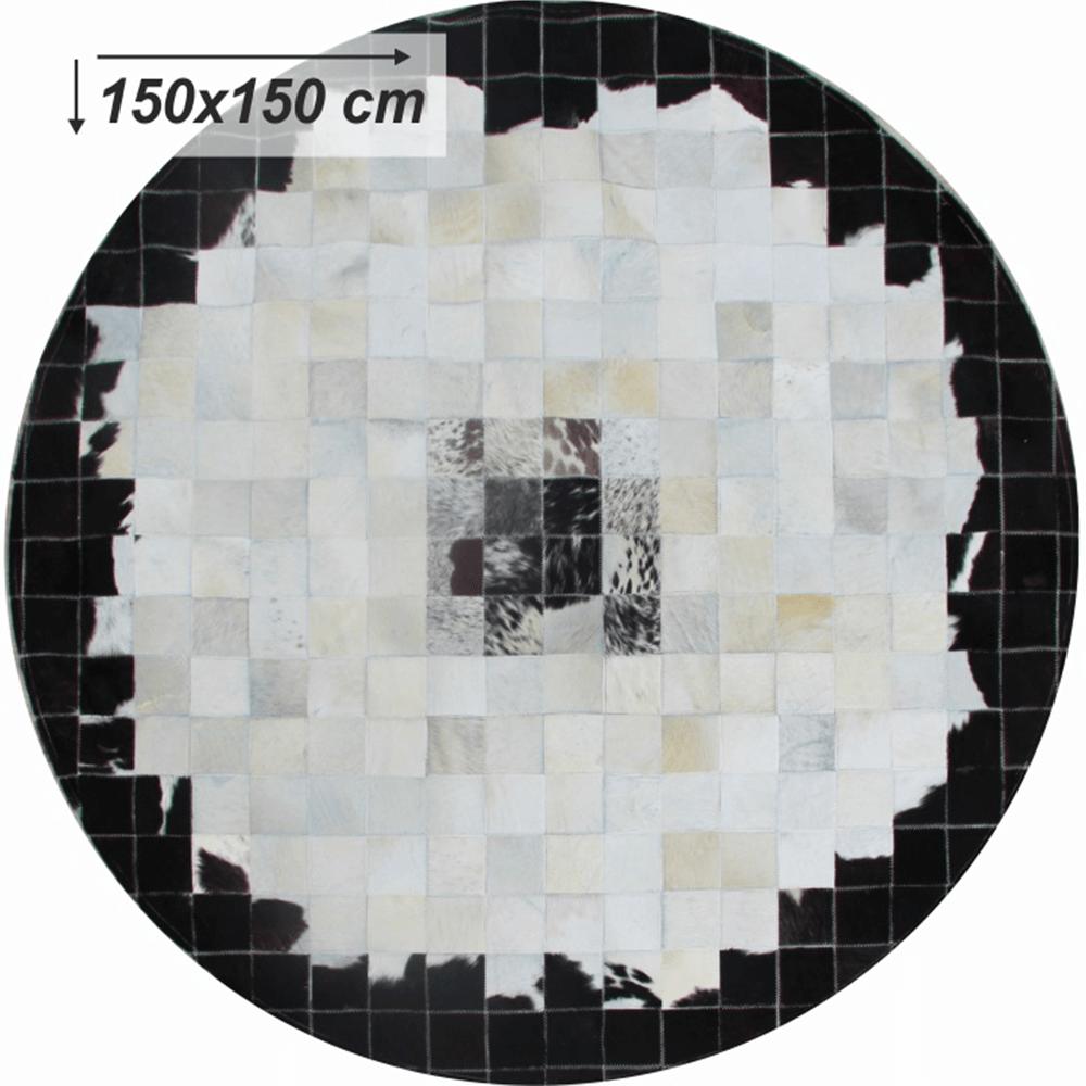 Luxus bőrszőnyeg, fekete/bézs/fehér, patchwork, 150x150, bőr TIP 9