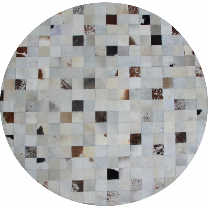 Luxusný kožený koberec, viacfarebný, patchwork, 150x150, KOŽA TYP 10