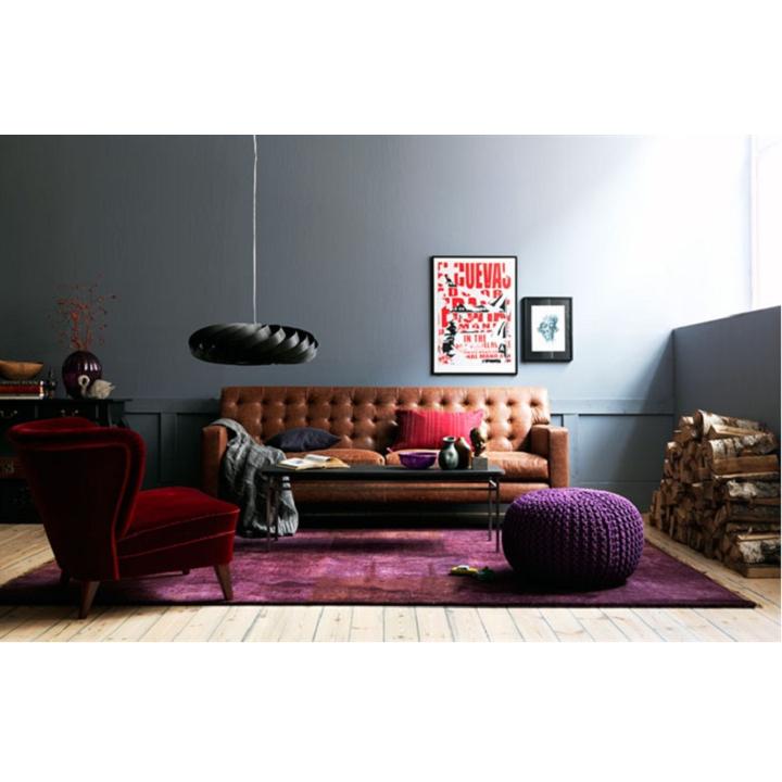 Pletený taburet, fialová bavlna, interiérová fotka, GOBI TYP 2