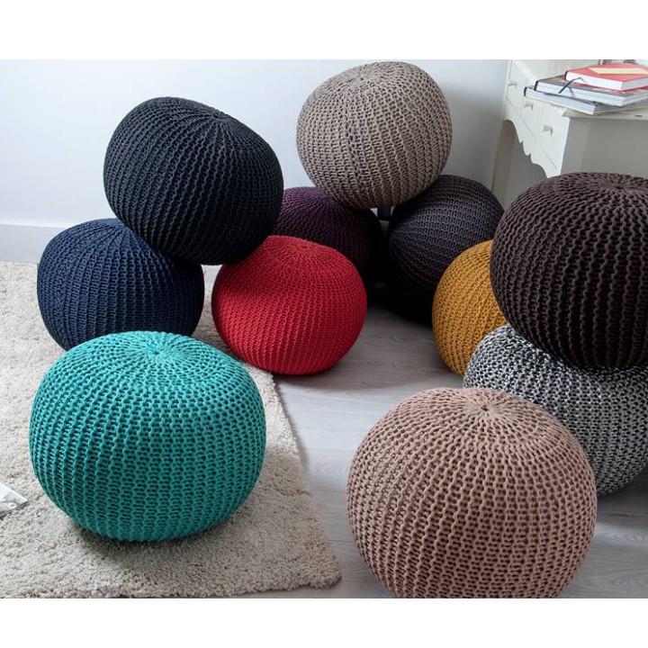 Pletený taburet, fialová bavlna, dostupné farebné prevedenia, GOBI TYP 2