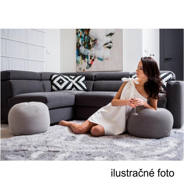 Pletený taburet, fialová bavlna,ilustračná fotka, GOBI TYP 2