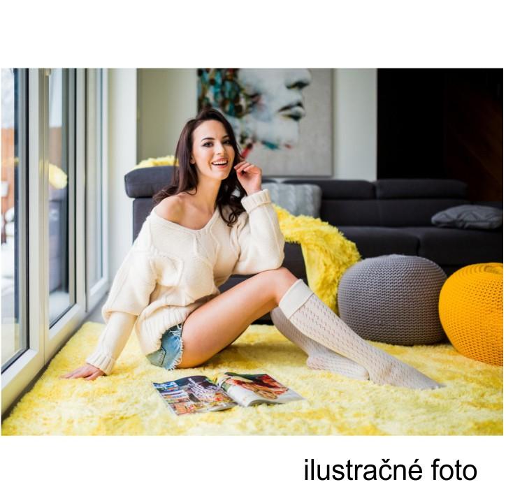 Pletený taburet, fialová bavlna, interiérová ilustračná fotka, GOBI TYP 2