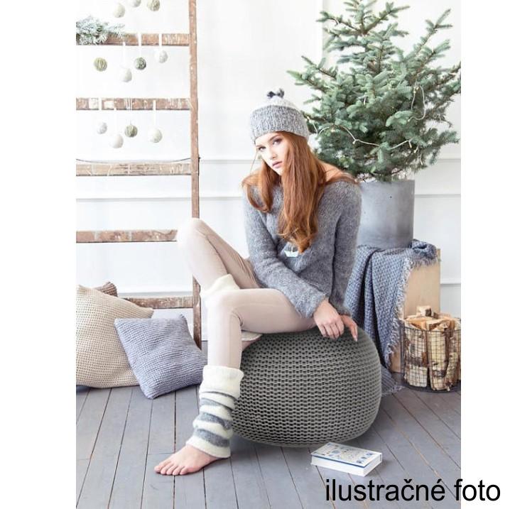 Pletený taburet, fialová bavlna, ilustračná interiérová fotka, GOBI TYP 2