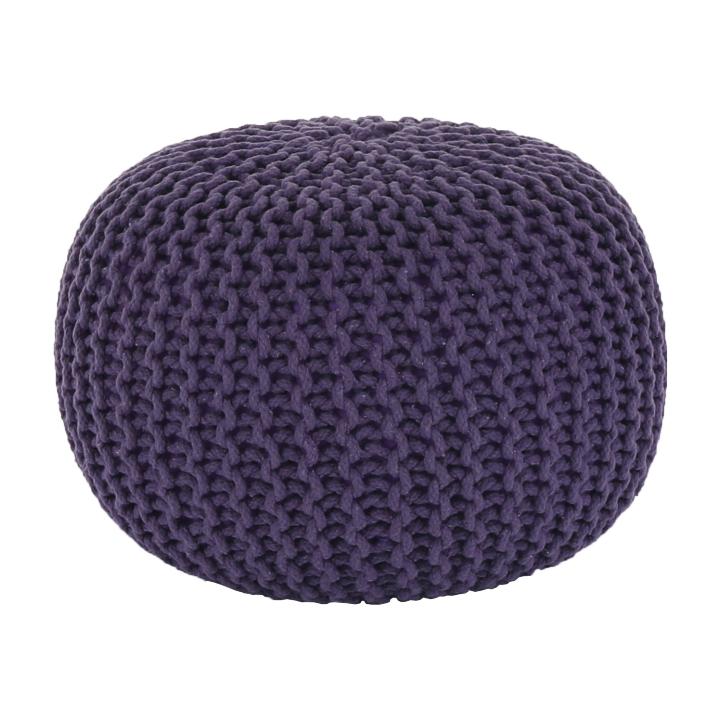 Pletený taburet, fialová bavlna, GOBI TYP 2, pohľad z predu