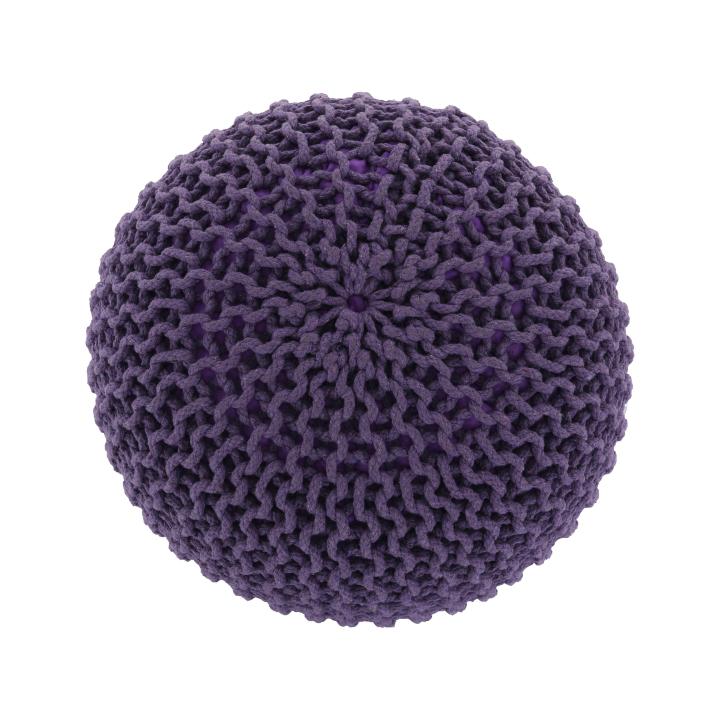 Pletený taburet, fialová bavlna, GOBI TYP 2, záber z hora